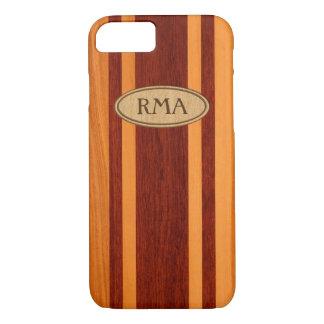 Coque iPhone 8/7 Monogramme en bois de planche de surf de Faux