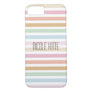 Coque iPhone 8/7 monogramme fin moderne de couleur en pastel