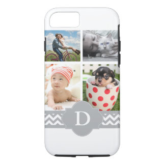 Coque iPhone 8/7 Monogramme gris de Chevron de collage