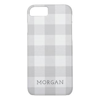Coque iPhone 8/7 Monogramme gris de contrôle de Buffalo de ferme