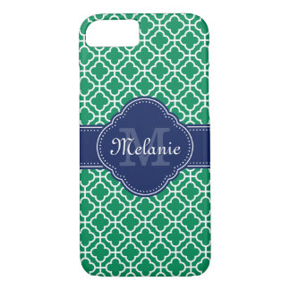 Coque iPhone 8/7 Monogramme marocain blanc de marine de motif de