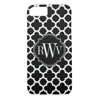 Coque iPhone 8/7 Monogramme noir et blanc de motif de Quatrefoil