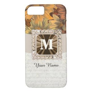 Coque iPhone 8/7 Monogramme personnalisé floral brun de chute