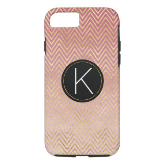 Coque iPhone 8/7 Monogramme rose de Chevron Ombre d'or