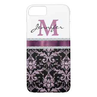 Coque iPhone 8/7 Monogramme rose violet de diamant de Faux de