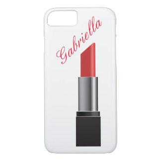 Coque iPhone 8/7 Monogramme rouge de rouge à lèvres