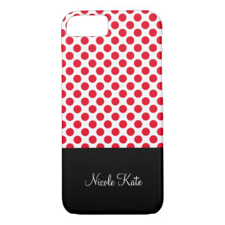 Coque iPhone 8/7 Monogramme rouge Girly de pois