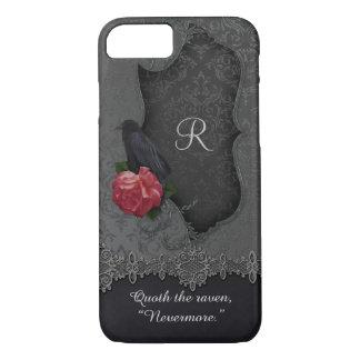Coque iPhone 8/7 Monogramme vintage de damassé de noir de rose