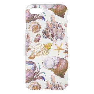 Coque iPhone 8/7 Motif 4 de vie marine d'aquarelle