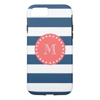 Coque iPhone 8/7 Motif blanc de rayures de bleu marine, monogramme