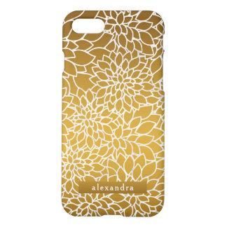 Coque iPhone 8/7 Motif de fleurs chic d'or