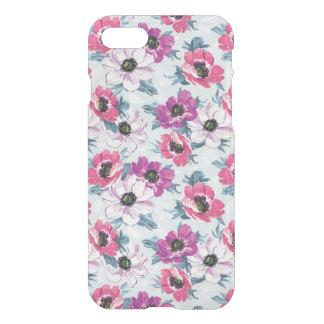 Coque iPhone 8/7 Motif de fleurs de couleur d'élégance sur le bleu