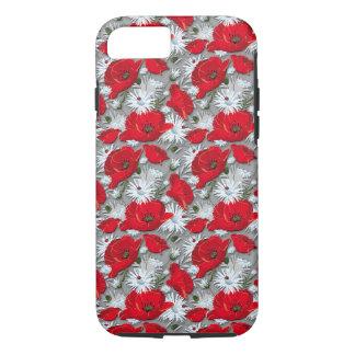 Coque iPhone 8/7 Motif de fleurs rouge magnifique d'été de pavots