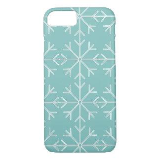 Coque iPhone 8/7 Motif de flocon de neige - bleu et blanc