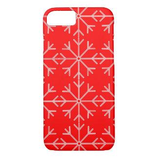 Coque iPhone 8/7 Motif de flocon de neige - rouge et blanc