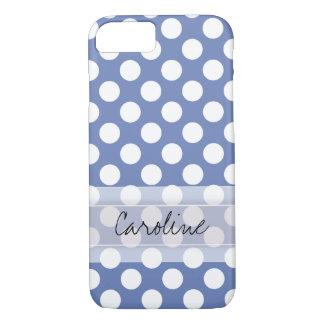 Coque iPhone 8/7 Motif de point à la mode blanc bleu de polka