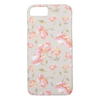 Coque iPhone 8/7 Motif floral d'aquarelle - pivoines