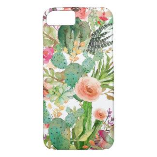 Coque iPhone 8/7 Motif floral de cactus d'aquarelle