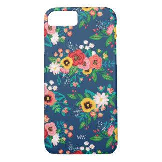Coque iPhone 8/7 Motif floral folklorique de Boho - monogramme
