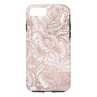 Coque iPhone 8/7 Motif floral tiré par la main de feuille d'or rose