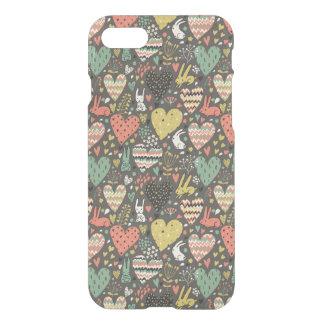 Coque iPhone 8/7 Motif mignon de lapins d'amour avec des coeurs
