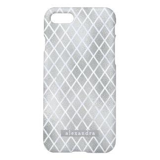 Coque iPhone 8/7 Motif moderne de diamant d'aluminium argenté de