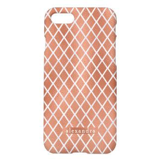 Coque iPhone 8/7 Motif rose de diamant de feuille d'or de Faux
