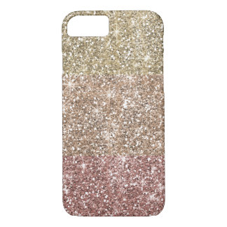 Coque iPhone 8/7 Motif rose d'Ombre d'or de parties scintillantes