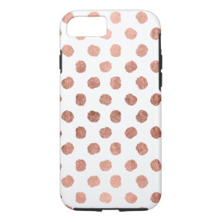 Coque iPhone 8/7 Motif rose moderne de traçages de pois d'or