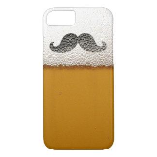 Coque iPhone 8/7 Moustache noire drôle dans la mousse de bière