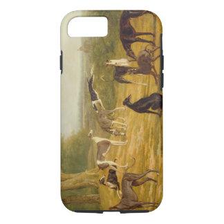 Coque iPhone 8/7 Neuf lévriers dans un paysage (huile sur la toile)