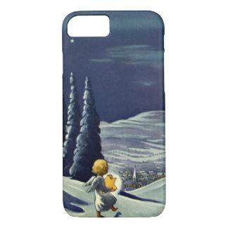 Coque iPhone 8/7 Noël vintage, ange de neige marchant avec une