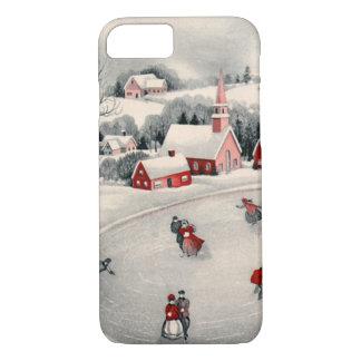 Coque iPhone 8/7 Noël vintage, patineurs de glace victoriens sur