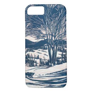 Coque iPhone 8/7 Noël vintage, paysage de montagne d'hiver
