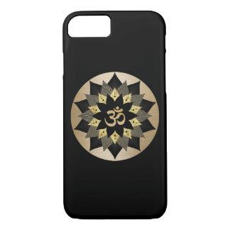 Coque iPhone 8/7 Noir de symbole de l'OM de yoga et mandala de