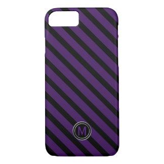 Coque iPhone 8/7 Noir et monogramme diagonal mauve-foncé de rayure