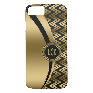 Coque iPhone 8/7 Noir moderne et zigzag géométrique Chevron 2a d'or