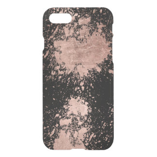 Coque iPhone 8/7 Noir rose de traçages de feuille d'or de faux