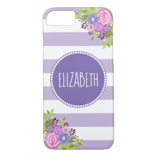 Coque iPhone 8/7 Nom blanc pourpre floral lunatique de monogramme