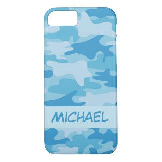 Coque iPhone 8/7 Nom bleu de camouflage de Camo personnalisé