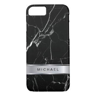 Coque iPhone 8/7 Nom métallique de monogramme d'argent de marbre