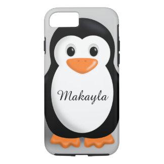 Coque iPhone 8/7 Nom personnalisé par pingouin mignon de bébé