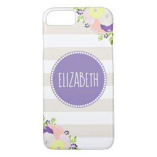 Coque iPhone 8/7 Nom pourpre de monogramme de rayure beige florale