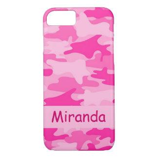 Coque iPhone 8/7 Nom rose de camouflage de Camo personnalisé