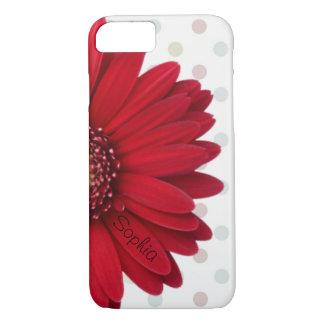 Coque iPhone 8/7 Nom rouge de coutume de marguerite de point de