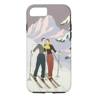 Coque iPhone 8/7 Nouveaux mariés de ski d'histoires d'amour