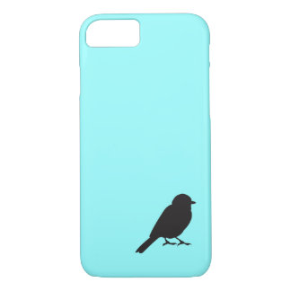 Coque iPhone 8/7 Oiseau bleu chic d'hirondelle de silhouette de
