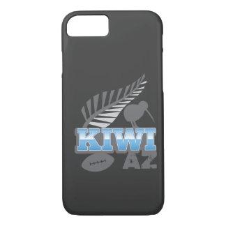 Coque iPhone 8/7 Oiseau de rugby du KIWI AZ et fougère argentée