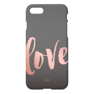 Coque iPhone 8/7 Or de l'amour | et monogramme roses du gris |