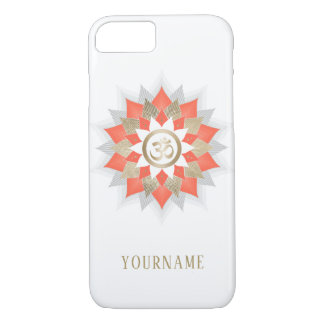 Coque iPhone 8/7 Or de symbole de l'OM de yoga et mandala orange de